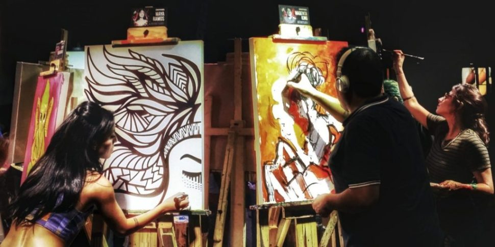 Artistas en el Art Battle