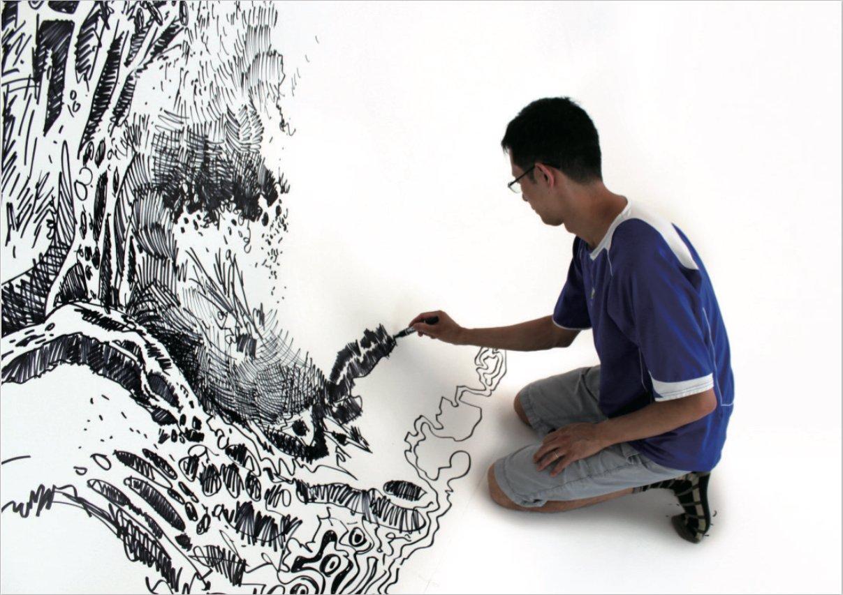 Oscar Oiwa prepara mural dentro de domo inflable